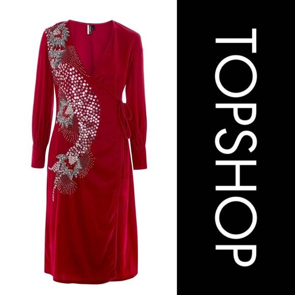 Topshop Dresses & Skirts - TOPSHOP Velvet hot pink embellished dress